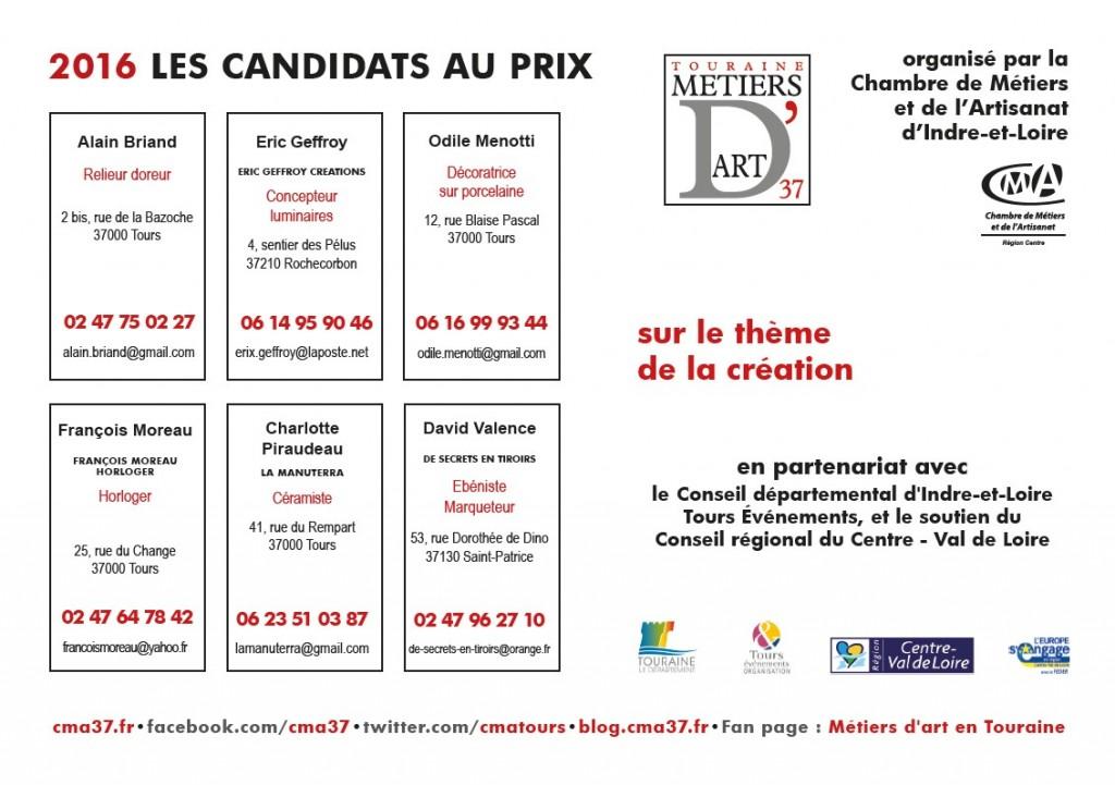 Candidats Prix Touraine Métiers d'Art 2016